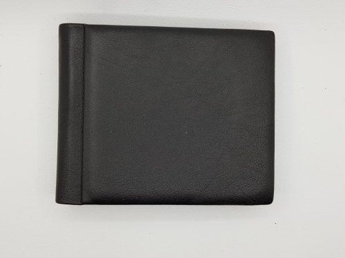 Melns dabīgās ādas monētu maks - Skats no priekšas