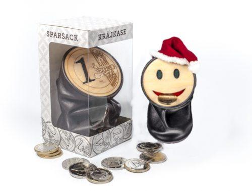 """Dabīgās ādas krājkase """"Smaidiņš, Euro"""" - Kopbilde skats no priekšas"""